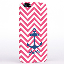 Personalised Navy Anchor Fuchsia Chevron iPhone Case