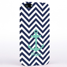 Personalised Aqua Anchor Black Chevron iPhone Case
