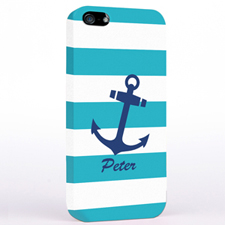 Personalised Navy Anchor Turquoise Strips iPhone Case