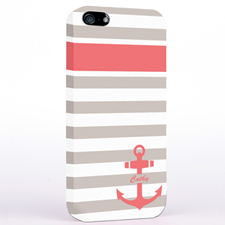 Personalised Carol Anchor Grey Stripes iPhone Case