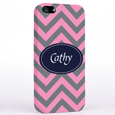Personalised Grey & Carol Chevron iPhone Case