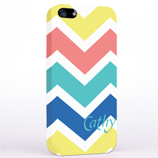 Personalised Yellow Carol Blue Chevron iPhone Case