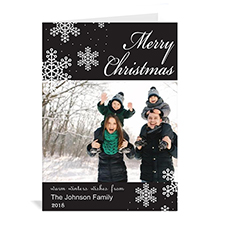 Personalised Snowy Holiday Black Christmas Card