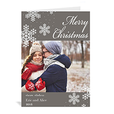 Personalised Snowy Holiday Grey Christmas Card