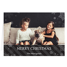 Let it Snow Black Personalised Christmas Greeting Card
