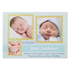 Glitter Welcomed Wonder Boy Personalised Photo Birth Announcement Party Invitation Card