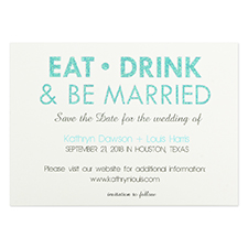 Personalised Eat, Drink & Be Married Invitation Cards