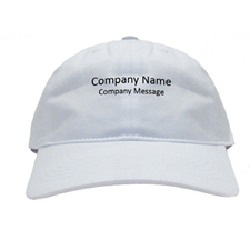 Custom Imprint Baseball Cap Company Name White