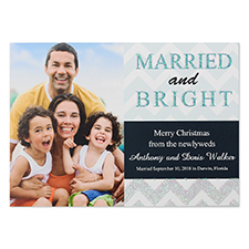 Personalised Glitter Married And Bright Personalised Photo Christmas Invitation Cards