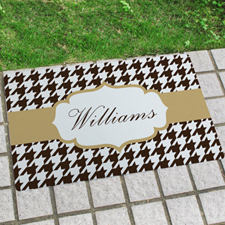 Hounds Tooth Personalised Name Door Mat