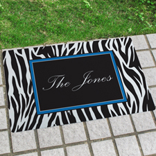 Zebra Print Personalised Name Door Mat