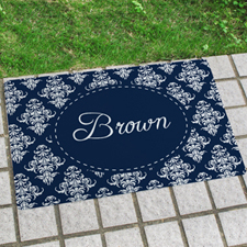 Navy Vintage Personalised Name Door Mat