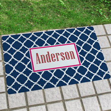 Navy Quatrefoil Personalised Name Door Mat