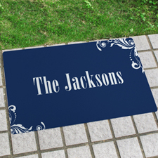 Navy Floral Pattern Personalised Name Door Mat