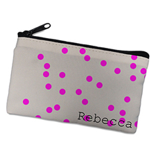 Fuchsia Natural Polka Dots Personalised Cosmetic Bag