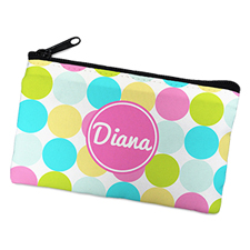 Pink Colourful Large Dots Personalised Cosmetic Bag