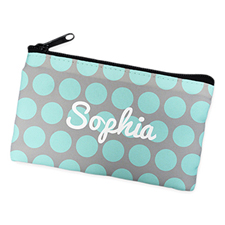 Aqua Grey Large Dots Personalised Cosmetic Bag
