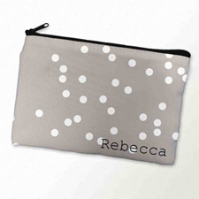 Custom Printed White Natural Polka Dots Zipper Bag
