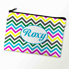 Custom Printed Yellow Colourful Chevron Zipper Bag