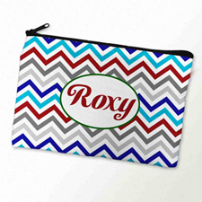 Custom Printed Grey Blue Red Chevron Zipper Bag