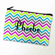 Custom Printed Colourful Chevron Pattern Zipper Bag