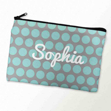Custom Printed Aqua Grey Large Dots Zipper Bag