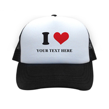 I Love Personalised Trucker Hat, Black