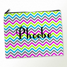 Personalised Colourful Chevron Pattern Large Cosmetic Bag 11