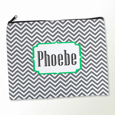 Personalised Grey Chevron Large Cosmetic Bag 11