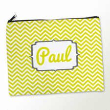 Personalised Yellow Chevron Large Cosmetic Bag 11