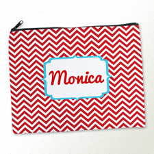 Personalised Red Chevron Large Cosmetic Bag 11