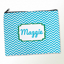 Personalised Turquoise Chevron Large Cosmetic Bag 11
