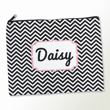 Personalised Black Chevron Large Cosmetic Bag 11