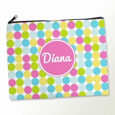 Personalised Pink Colourful Large Dots Large Cosmetic Bag 11