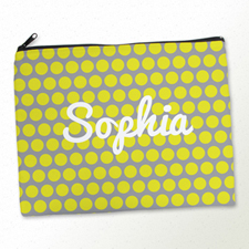 Personalised Yellow And Grey Large Dots Large Cosmetic Bag 11