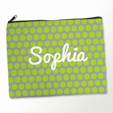 Personalised Lime Grey Polka Dots Large Cosmetic Bag 11