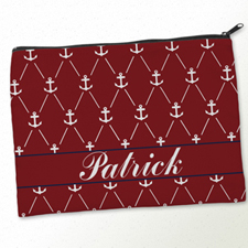 Personalised Red White Anchor Big Make Up Bag 9.5