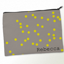 Personalised Yellow Natural Polka Dots Big Make Up Bag 9.5