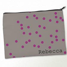 Personalised Fuchsia Natural Polka Dots Big Make Up Bag 9.5