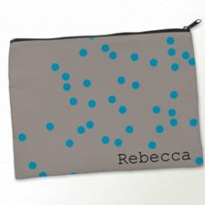 Personalised Turquoise Natural Polka Dots Big Make Up Bag 9.5