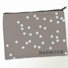 Personalised White Natural Polka Dots Big Make Up Bag 9.5