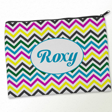 Personalised Yellow Colourful Chevron Big Make Up Bag 9.5