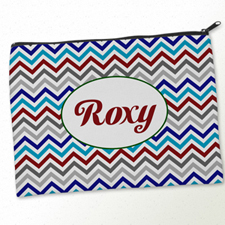 Personalised Grey Blue Red Chevron Big Make Up Bag 9.5