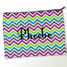 Personalised Colourful Chevron Pattern Big Make Up Bag 9.5