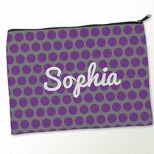 Personalised Purple Grey Large Dots Big Make Up Bag 9.5