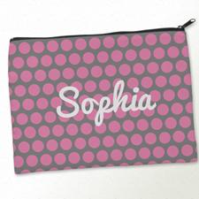 Personalised Pink Grey Large Dots Big Make Up Bag 9.5
