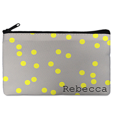 Custom Design Your Own Yellow Natural Polka Dots Makeup Bag 5