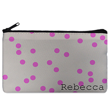 Custom Design Your Own Fuchsia Natural Polka Dots Makeup Bag 5
