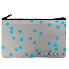 Custom Design Your Own Turquoise Natural Polka Dots Makeup Bag 5