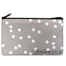Custom Design Your Own White Natural Polka Dots Makeup Bag 5